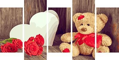 Модульное рисование по номерам Плюшевый медвежонок и красные розы